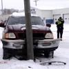 Pickup hits pole near Taco John's Tues am