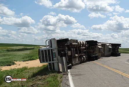 Semi Rollover West of Jamestown, Mon afternoon