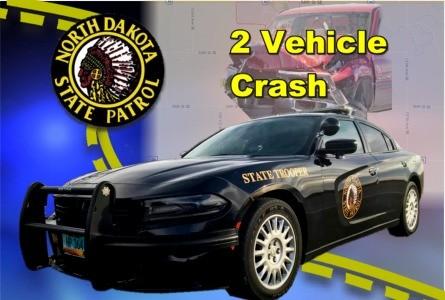 2 vehicle crash near VC, Sun. injures one driver