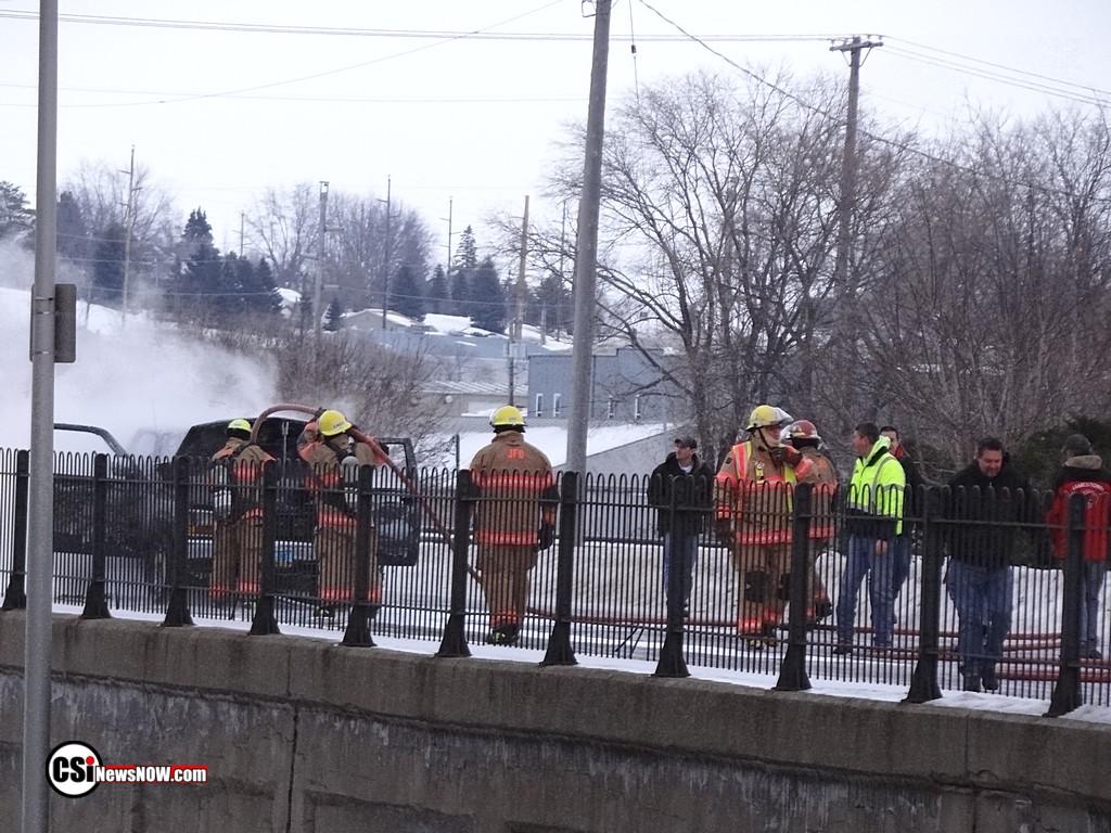 Pickup truck fire above viaduct Jamestown - CSi Photos