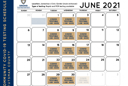 Jamestown COVID June Testing Tues-Wed-Thurs